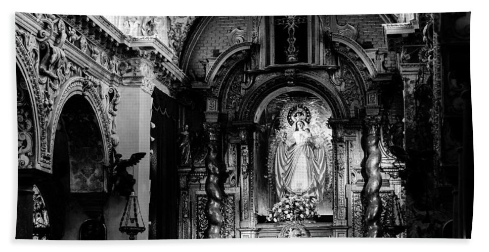 Seville Hand Towel featuring the photograph Call Of God Bw by Andrea Mazzocchetti