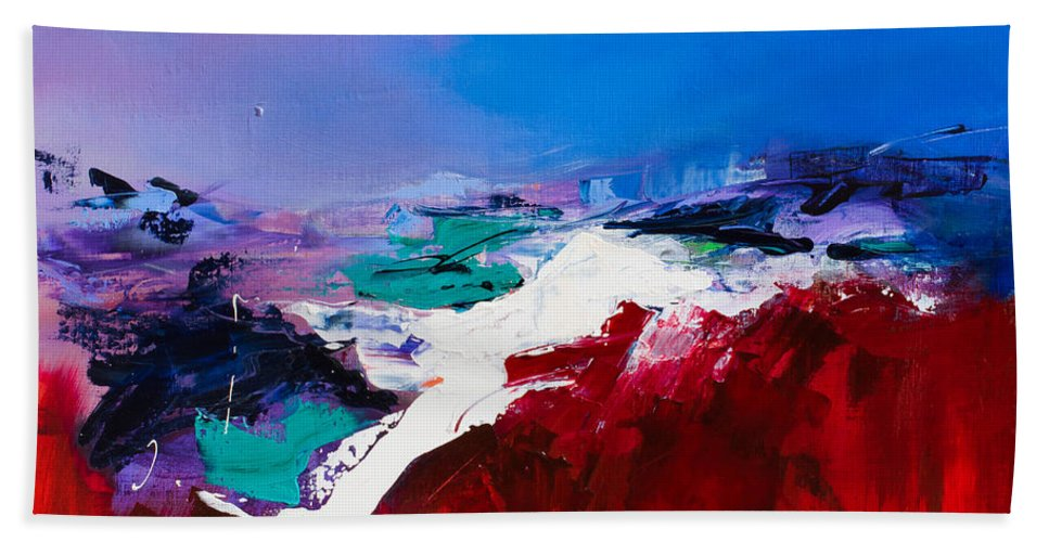 Abstract Hand Towel featuring the painting Call Of The Canyon by Elise Palmigiani