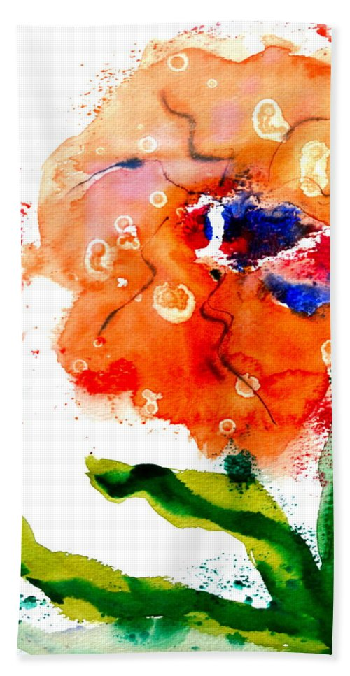 Poppy Hand Towel featuring the painting Call Up The Wind by Beverley Harper Tinsley