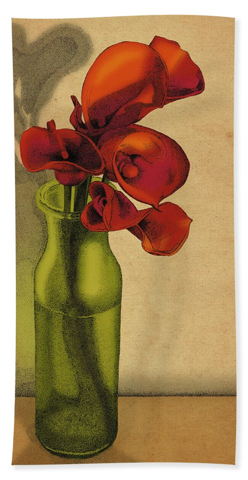 Calla Lillies Flowers Bottle Bath Sheet featuring the drawing Calla Lilies In Bloom by Meg Shearer