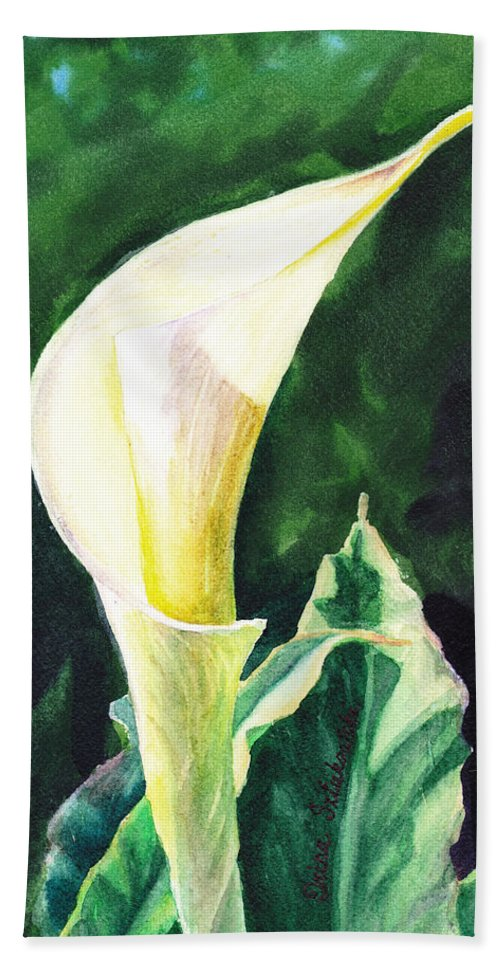 Calla Lily. Lily Bath Sheet featuring the painting Calla Lily by Irina Sztukowski