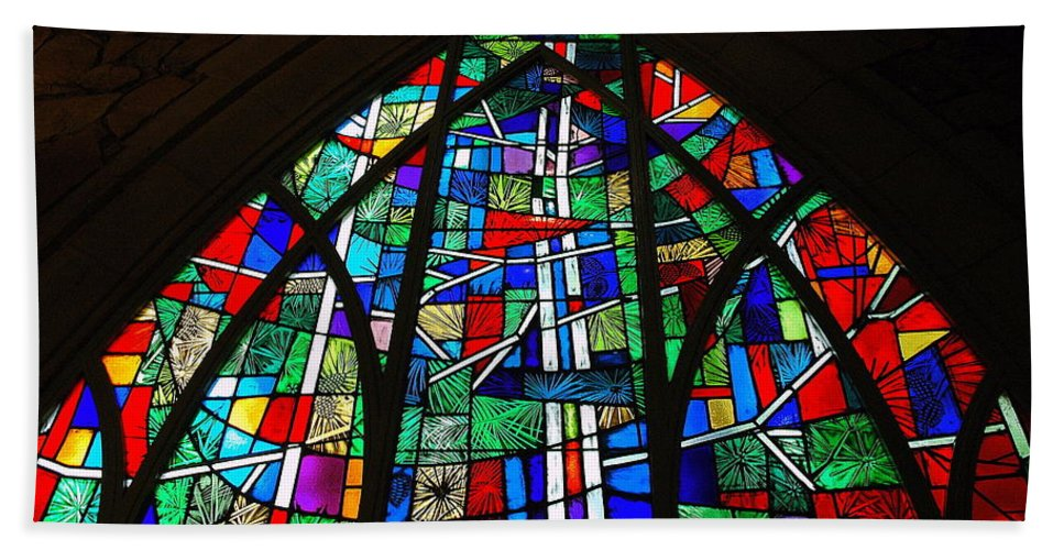 Callaway Gardens Bath Sheet featuring the photograph Callaway Gardens Chapel Stained Glass by Roe Rader