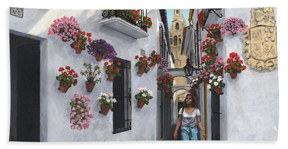 Landscape Bath Towel featuring the painting Calleje De Las Flores Cordoba Spain by Richard Harpum