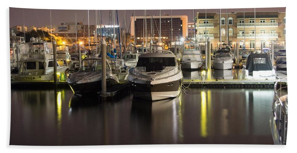 Night Hand Towel featuring the photograph Calm Reflection by Jon Cody