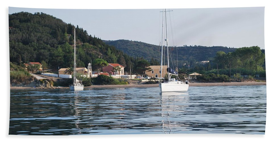 Seascape Bath Sheet featuring the photograph Calm Sea 2 by George Katechis