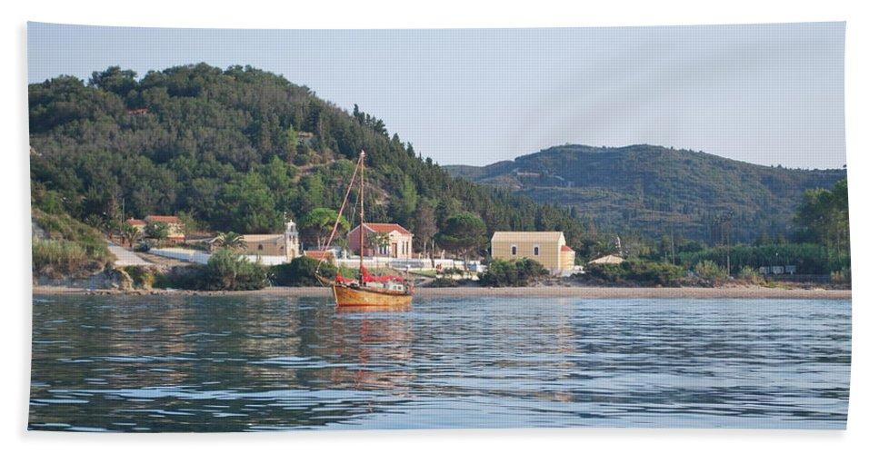 Calm Sea 3 Bath Sheet featuring the photograph Calm Sea 3 by George Katechis