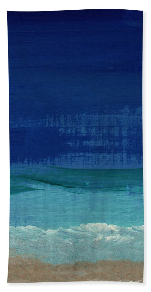 Abstract Art Bath Towel featuring the painting Calm Waters- Abstract Landscape Painting by Linda Woods