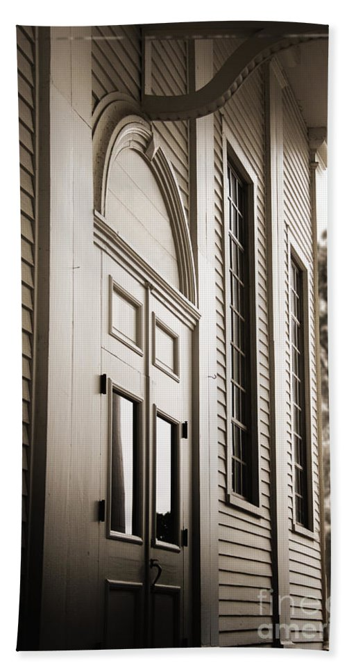 Building; Wall; Exterior; Facade; Architecture; Old; Vintage; Doors; Double; Windows; Covered; Porch; Overhang; Light; Fixture; Ornate; Wood; Wooden; House; Home; Entrance; Entry; Closed; Mansion; Trees Hand Towel featuring the photograph Calming Retreat by Margie Hurwich