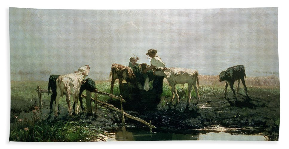 Hague School Bath Towel featuring the painting Calves At A Pond, 1863 by Willem Maris