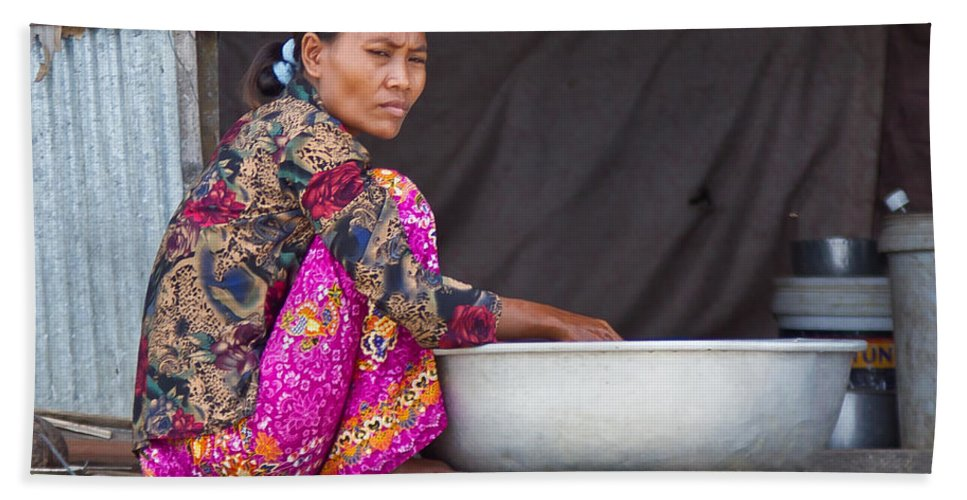 Cambodia Hand Towel featuring the photograph Laundry Day by David Freuthal
