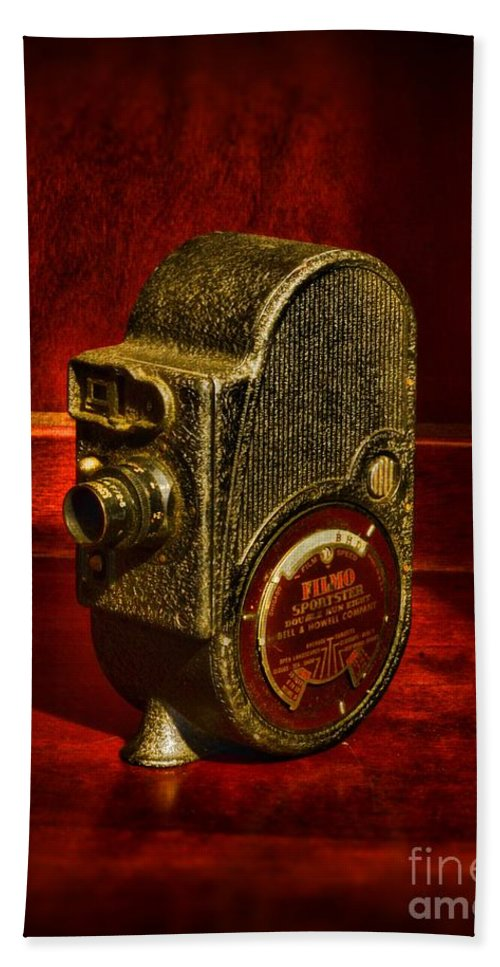 Paul Ward Bath Sheet featuring the photograph Camera - Bell And Howell Film Camera by Paul Ward