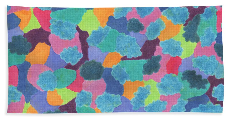 Abstract Bath Sheet featuring the painting Camouflage by Vanessa Favero
