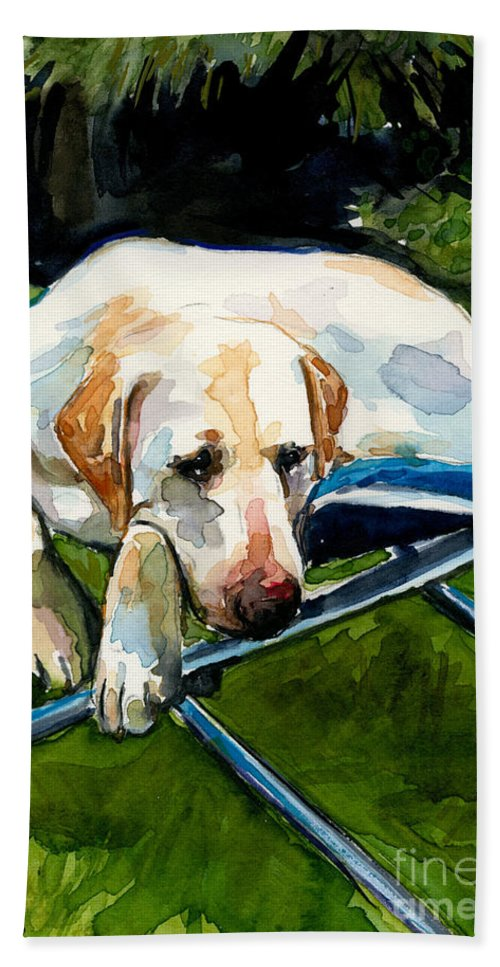 Yellow Lab Bath Sheet featuring the painting Camp Chair by Molly Poole