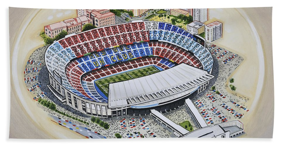 Art Bath Sheet featuring the painting Camp Nou - Barcelona Fc by D J Rogers