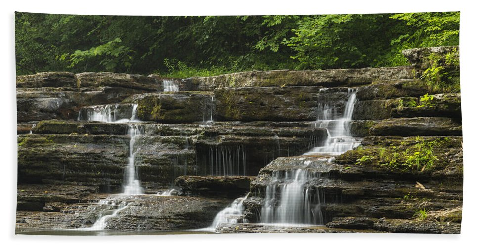 Waterfall Hand Towel featuring the photograph Campbell Falls 5 by John Brueske