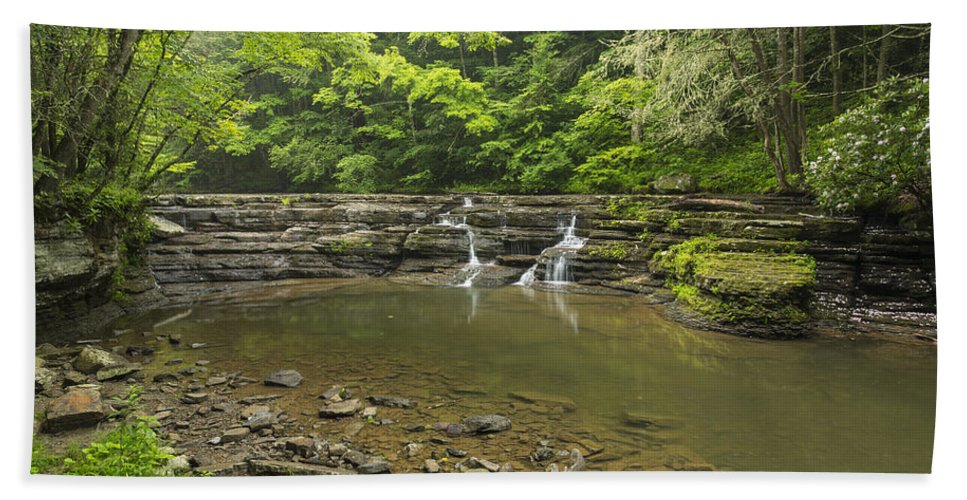 Waterfall Hand Towel featuring the photograph Campbell Falls 6 by John Brueske