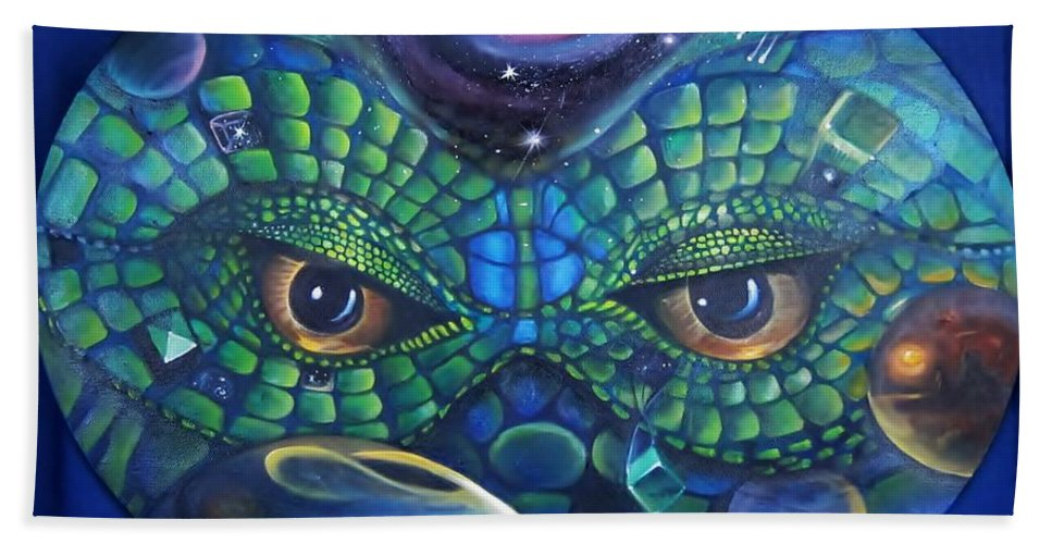 Surrealism Bath Sheet featuring the painting Can You See Me Now by Sherry Strong