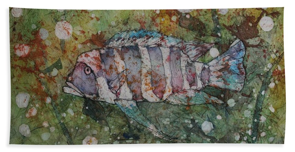 Fish Hand Towel featuring the painting Can You See Me by Ruth Kamenev