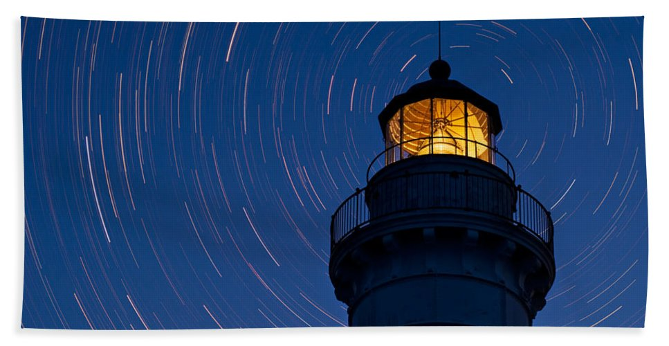 Astronomy Hand Towel featuring the photograph Cana Island Lighthouse Solstice by Steve Gadomski