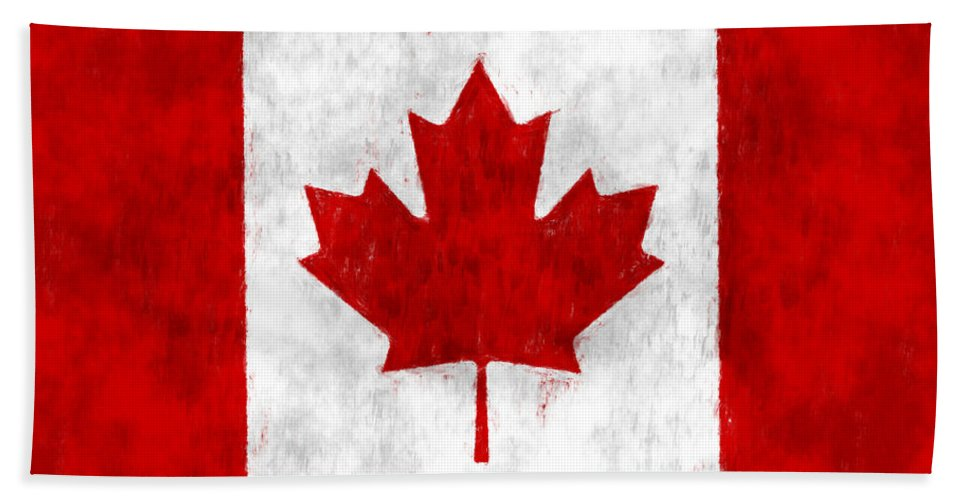Canada Hand Towel featuring the digital art Canada Flag by World Art Prints And Designs