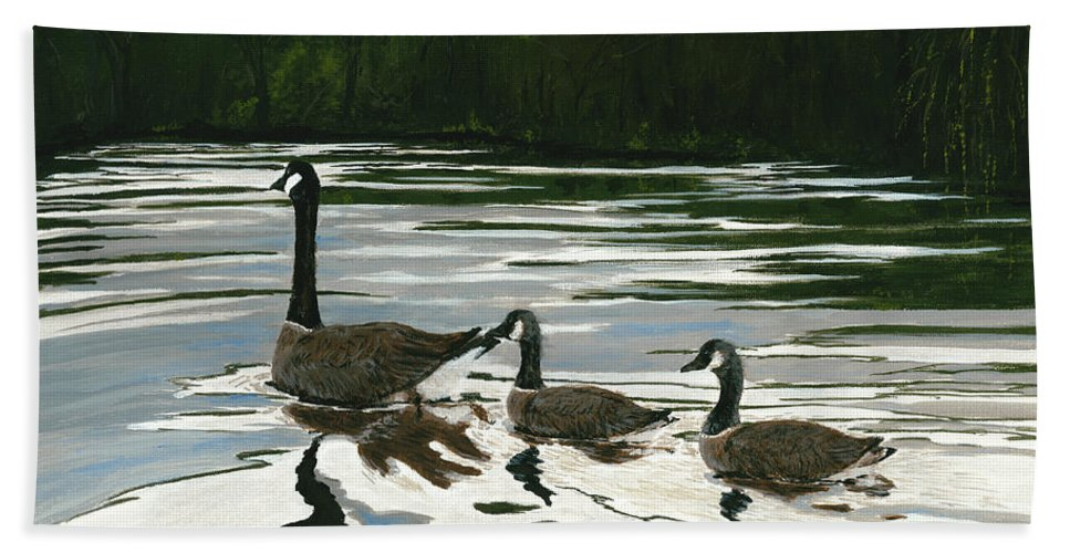 Wildlife Hand Towel featuring the painting Canadas On Wilson Lake Nc by Carlene Salazar