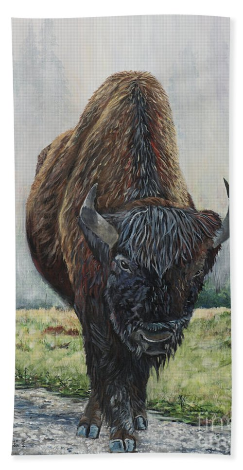 Bison Hand Towel featuring the painting Canadian Bison by Marilyn McNish