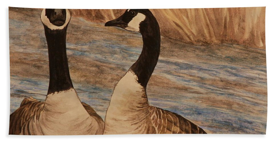 Canadian Goose Hand Towel featuring the painting Canadian Geese by Michelle Miron-Rebbe