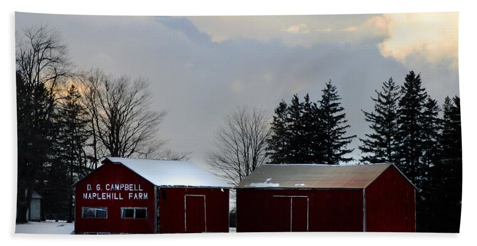 Canada Hand Towel featuring the photograph Canadian Snowy Farm by Anthony Jones