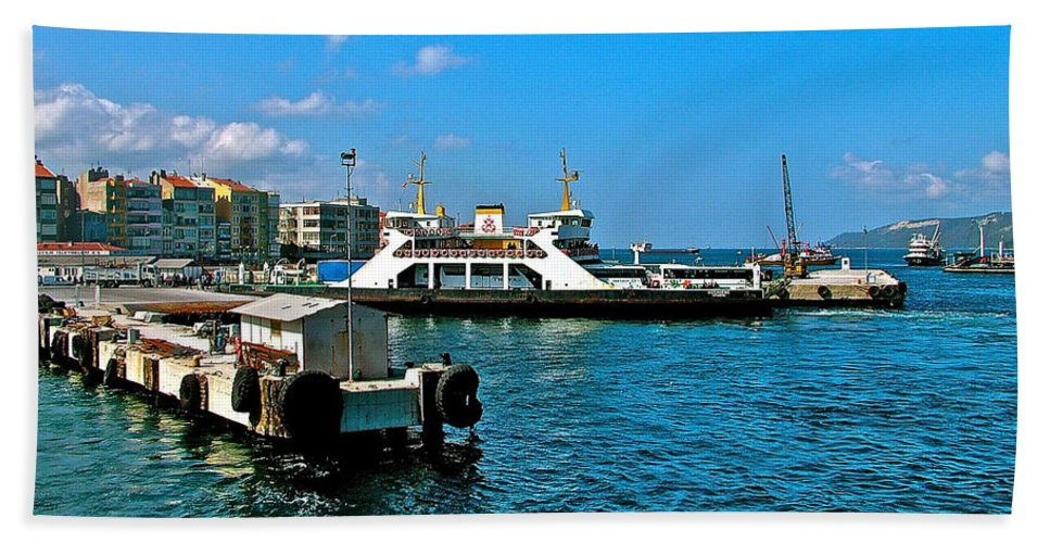 Canakkale Ferry Dock Along The Dardenelles Bath Sheet featuring the photograph Canakkale Ferry Dock-turkey by Ruth Hager