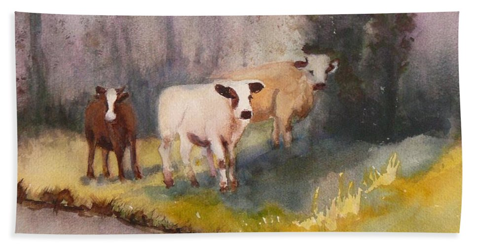 Cows Bath Sheet featuring the painting Canal Cows by Eldora Schober Larson