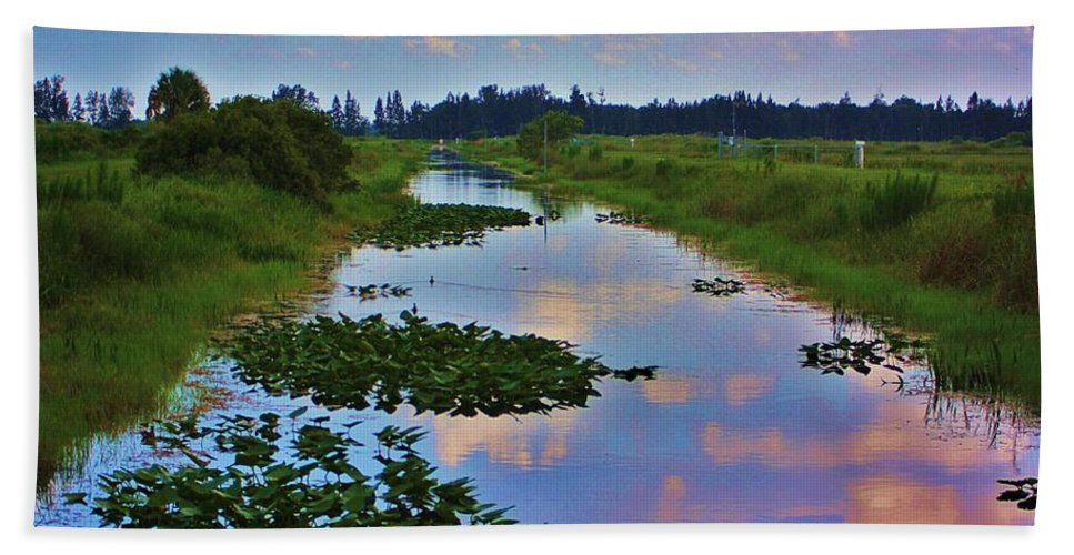 Canal Hand Towel featuring the photograph Canal In The Glades by Chuck Hicks