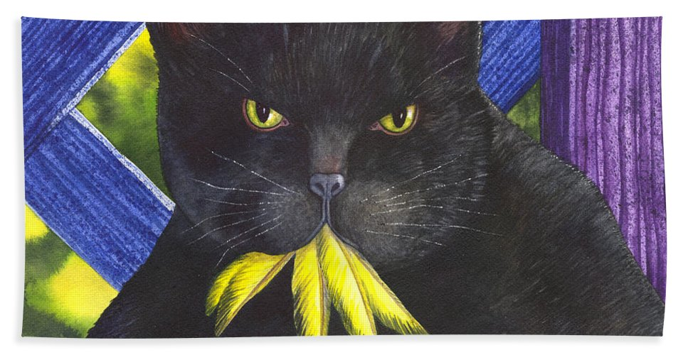 Cat Hand Towel featuring the painting Canary? by Catherine G McElroy