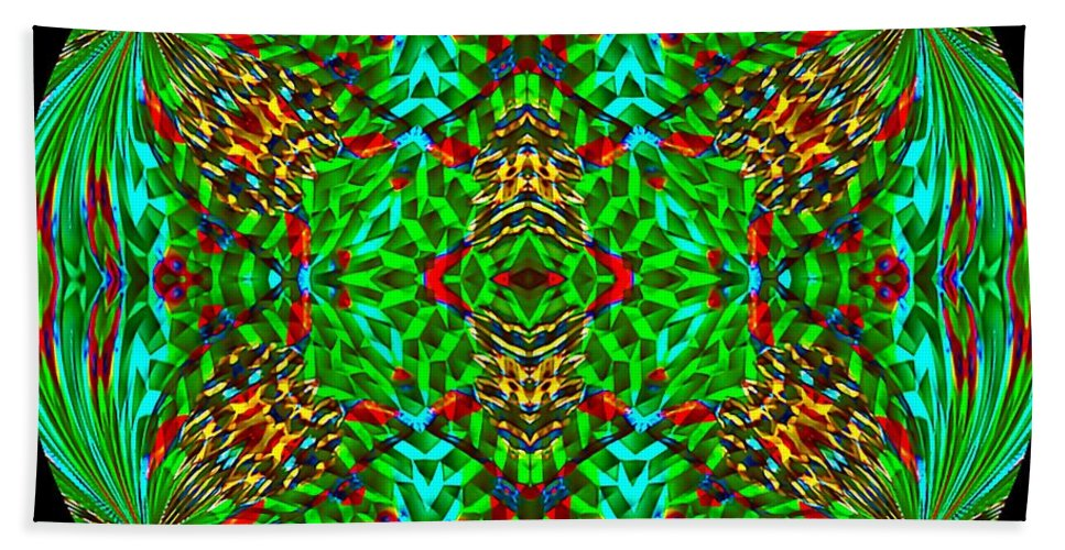 Spherical-kaleidoscopic-mandala-in-green-turquoise-yellow-and-red Hand Towel featuring the digital art Canastescher Butterfly by Richard Jones