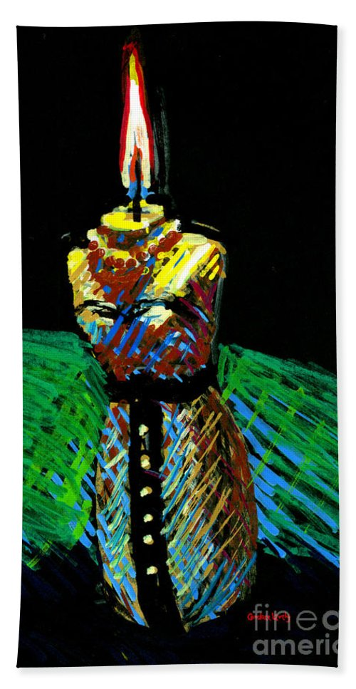 Candle Hand Towel featuring the painting Candle Bust by Candace Lovely