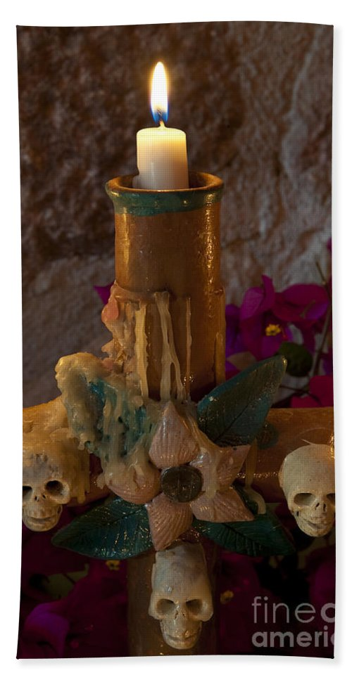 San Miguel De Allende Hand Towel featuring the photograph Candle On Day Of Dead Altar by John Shaw