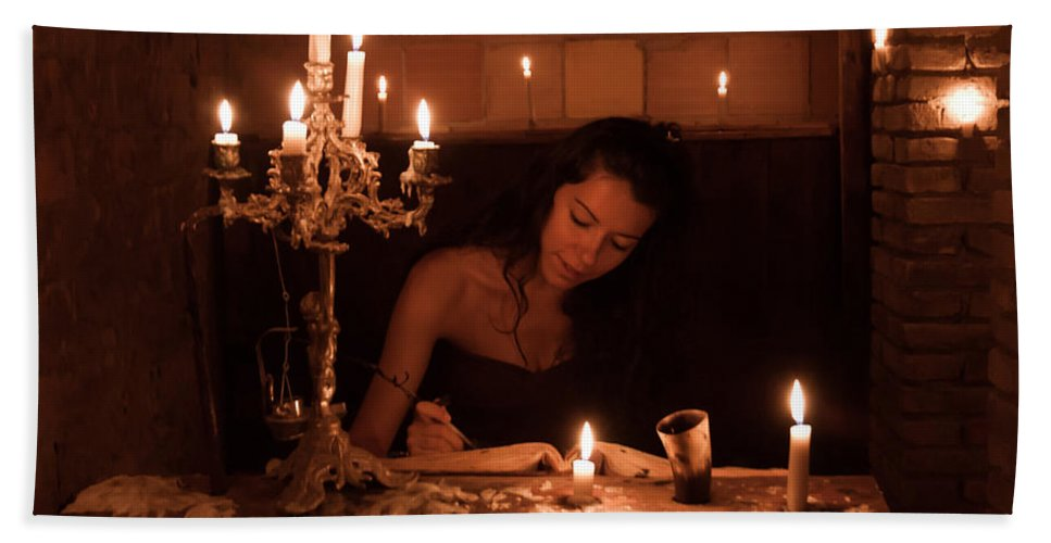 Candle Bath Towel featuring the photograph Candlelight Fantasia by Andrea Mazzocchetti