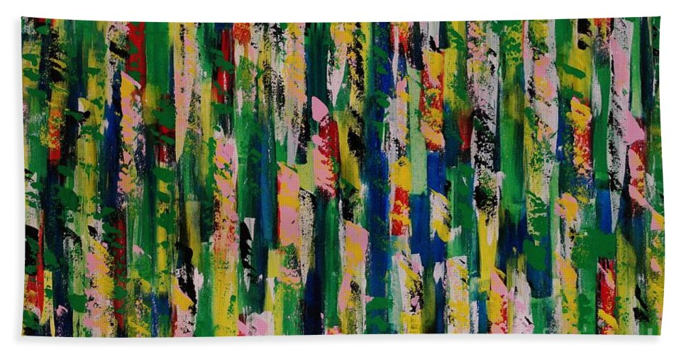 Abstract Bath Sheet featuring the painting Candy Crush by Wayne Cantrell