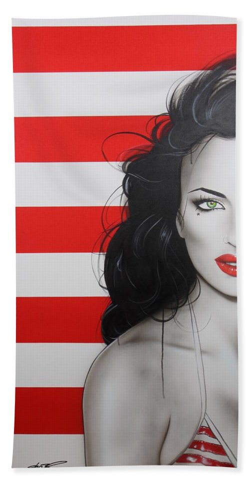 Stripes Hand Towel featuring the painting Candy Girl by Christian Chapman Art