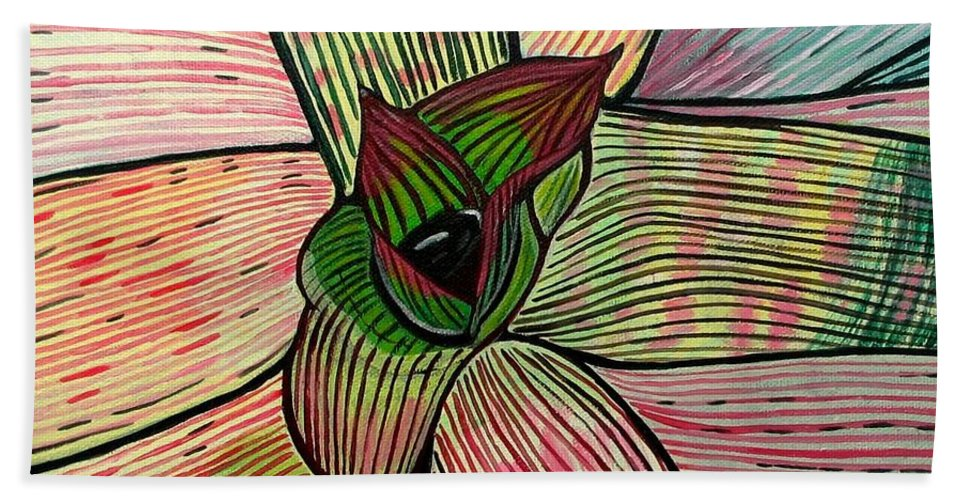 Plant Hand Towel featuring the painting Candy by Sandra Marie Adams