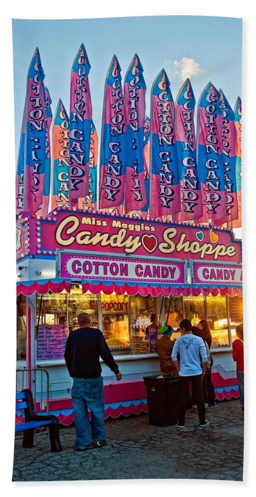 Bolton Fall Fair Hand Towel featuring the photograph Candy Shoppe by Steve Harrington