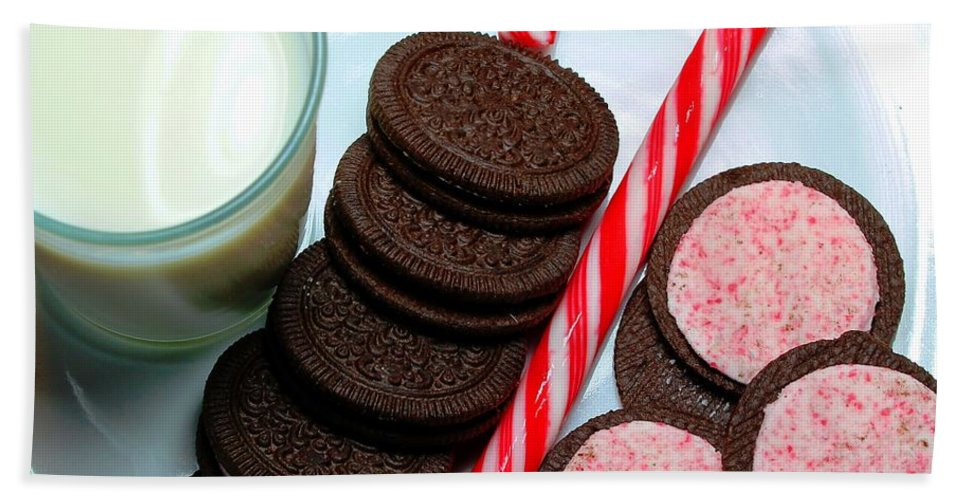Candy Cane Bath Sheet featuring the photograph Candycane Cookies - Milk - Cookies by Barbara Griffin