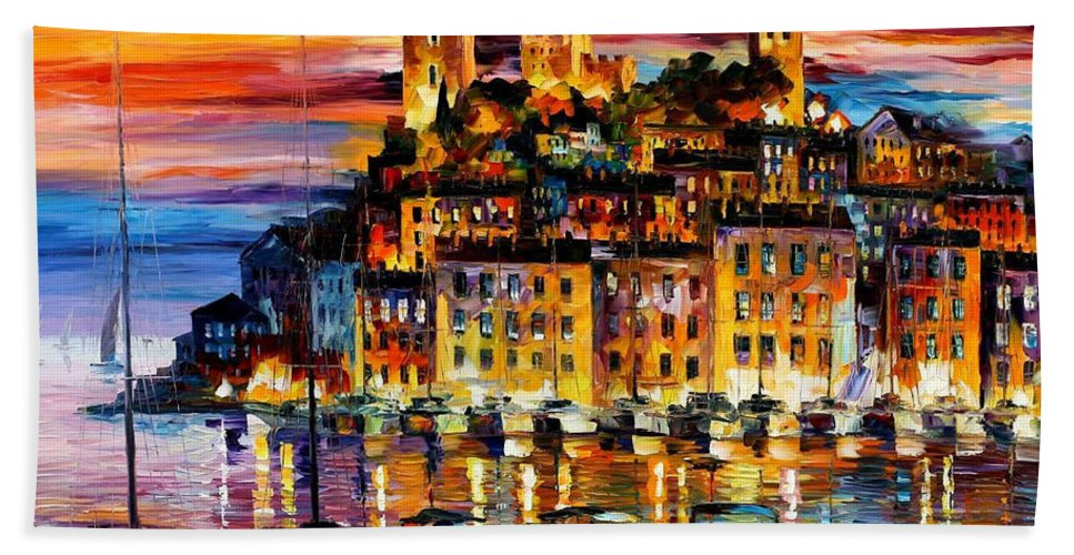 Oil Paintings Bath Sheet featuring the painting Cannes-france - Palette Knlfe Oil Painting On Canvas By Leonid Afremov by Leonid Afremov