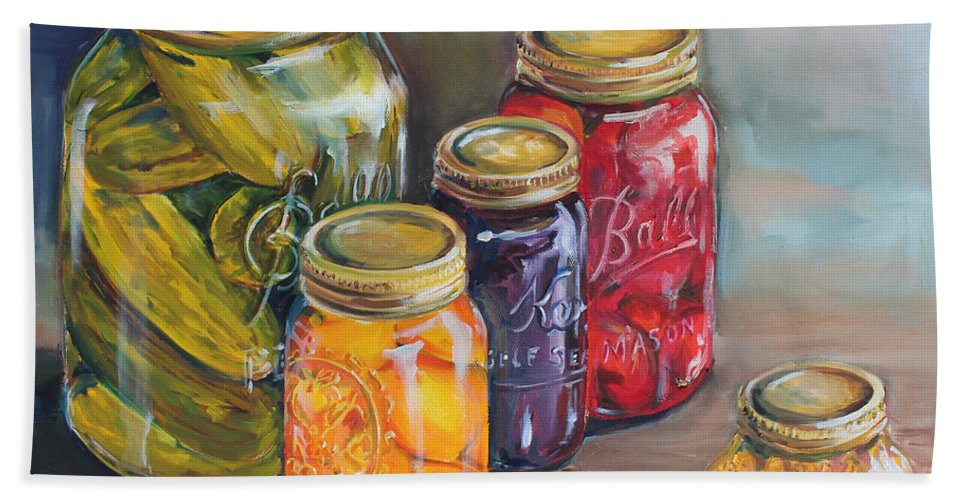 Canning Jars Bath Sheet featuring the painting Canning Jars by Kristine Kainer
