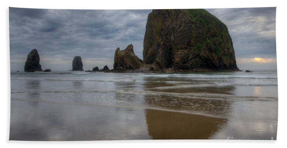 Cannon Beach Bath Sheet featuring the photograph Cannon Beach Haystack Reflection by Bob Christopher