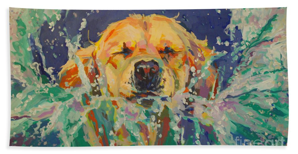 Golden Retriever Bath Towel featuring the painting Cannonball by Kimberly Santini
