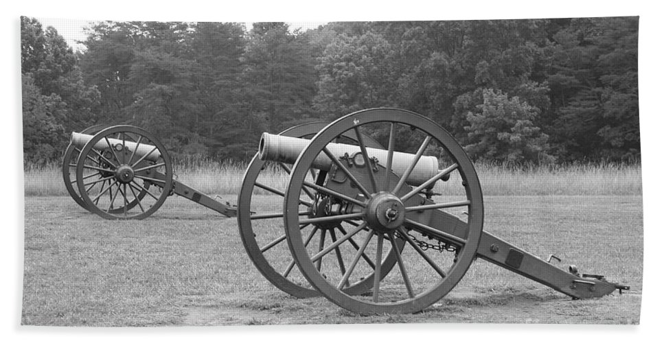 Cannon Bath Sheet featuring the photograph Cannons On Manassas Battlefield by Christiane Schulze Art And Photography