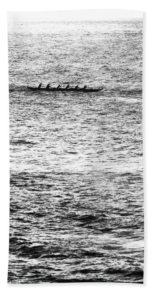 Hawaiian Outrigger Canoe Hand Towel featuring the photograph Canoe Glitter by Sean Davey