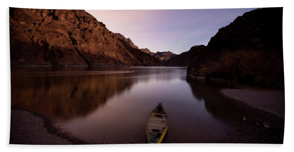 Absence Hand Towel featuring the photograph Canoe In Lake Near Shore, Arizona by Whit Richardson