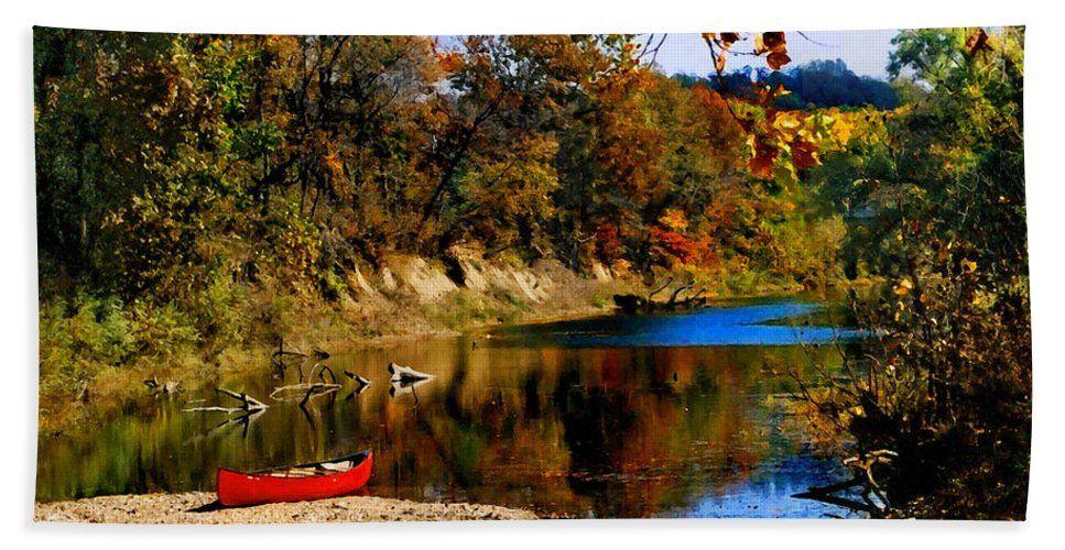 Autumn Hand Towel featuring the photograph Canoe On The Gasconade River by Steve Karol