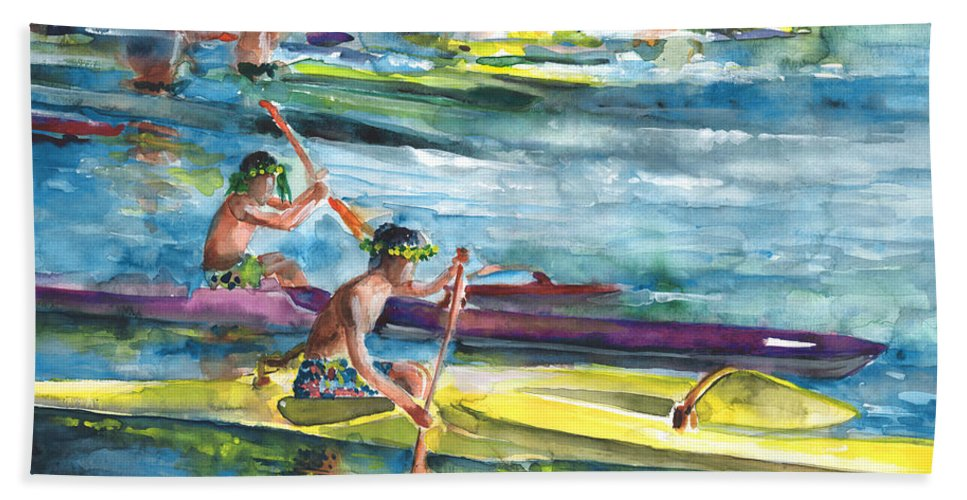 Travel Bath Sheet featuring the painting Canoe Race In Polynesia by Miki De Goodaboom